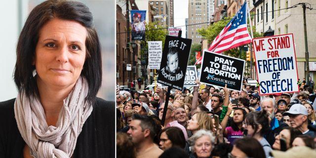 USA-experten Frida Stranne/abortmotståndare som demonstrerar. TT
