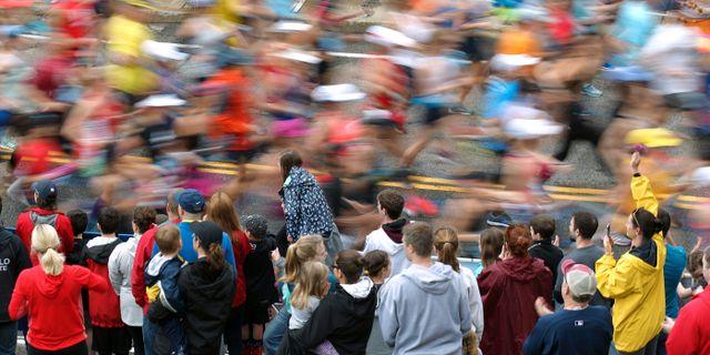 Bild från Boston Maraton.  Stew Milne / TT NYHETSBYRÅN