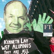 Protesters hold up an effigy of Enron's Kenneth Lay during a march against the World Economic Forum (WEF) February 2, 2002 in New York City. Shutterstock