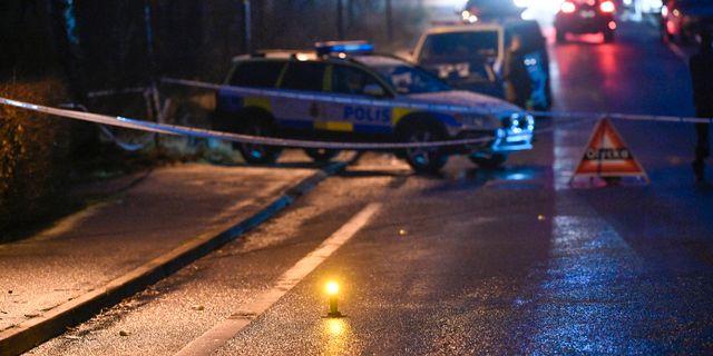 Polisen arbetar på platsen Johan Nilsson/TT / TT NYHETSBYRÅN