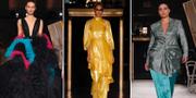 Några av de kreationer som modeskaparen Christian Siriano visade upp-  TT