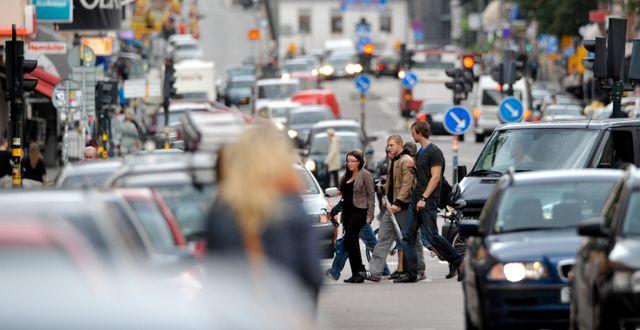 Trängsel på Hornsgatan i centrala Stockholm. Gunnar Lundmark / SvD / TT / TT NYHETSBYRÅN