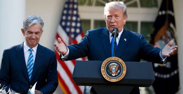 Trump och Fed-chefen Jerome Powell. Arkivbild. Alex Brandon / TT NYHETSBYRÅN
