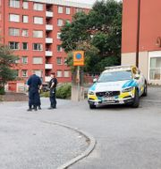 Poliser på plats i Flemingsberg i samband med skottlossningen den 17 juni. Johan Jeppsson/TT / TT NYHETSBYRÅN