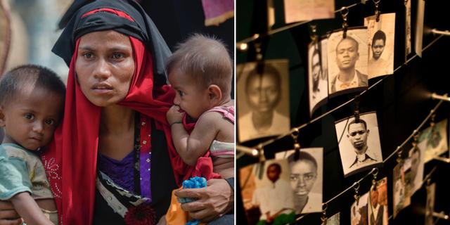 Rohingysk kvinna på flykt från Burma/Minnesbilder föreställande offer för folkmordet i Rwanda. TT