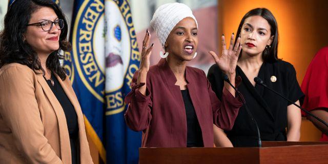 Rashida Tlaib, Ilhan Omar och Alexandra Ocasio-Cortez. Arkivbild. J. Scott Applewhite / TT NYHETSBYRÅN/ NTB Scanpix
