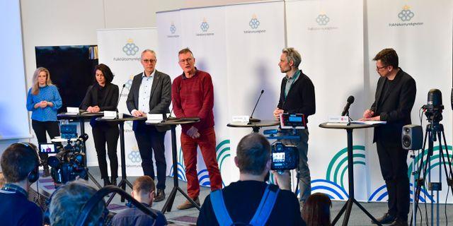 Bild från pressträffen. Jonas Ekströmer/TT / TT NYHETSBYRÅN