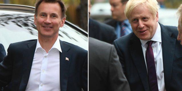 Jeremy Hunt och Boris Johnson. TT/AP