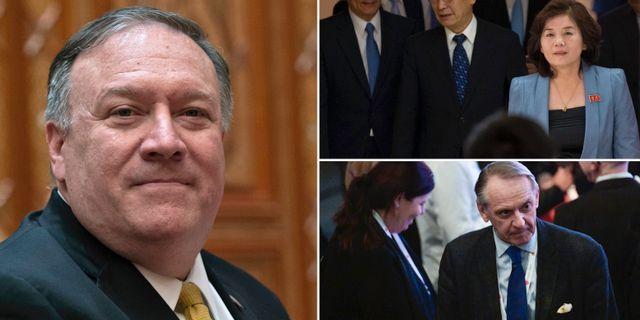 USA:s utrikesminister Mike Pompeo. Nordkoreanska sändebudet Choe Son-Hui och den tidigare diplomaten Jan Eliasson som båda deltog vid mötet. TT