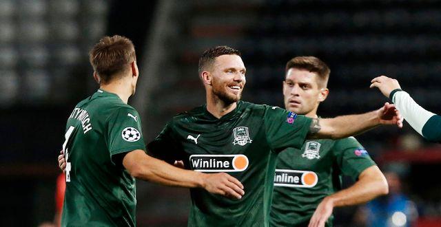 Marcus Berg tillsammans med lagkamraterna i Krasnodar.  INTIME / BILDBYRÅN