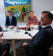 Stefan Löfven (Sverige), Sebastian Kurz (Österrike), Mette Frederiksen (Danmark) och Mark Rutte (Nederländerna). Francisco Seco / TT NYHETSBYRÅN