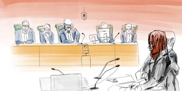 Teckning från rättegången.  Johan Hallnäs/TT / TT NYHETSBYRÅN