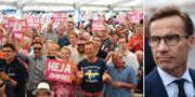 Åhörare på plats i tältet inför sommartal av Sverigedemokraternas partiledare Jimmie Åkesson/Ulf Kristersson (M).  TT