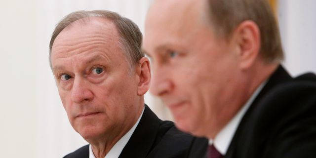 Nikolaj Patrusjev och Vladimir Putin. Sergei Karpukhin / TT / NTB Scanpix