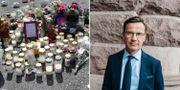 Blommor kring platsen där den 12-åriga flickan sköts ihjäl/Ulf Kristersson. TT