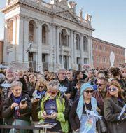 Demonstranter i Rom idag. Gregorio Borgia / TT NYHETSBYRÅN