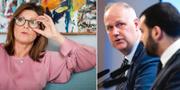 Arbetsmarknadsminister Eva Nordmark/Vänsterpartiets ordförande Jonas Sjöstedt (V) och Ali Esbati (V). TT