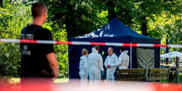 Polis vid mordplatsen i Berlin. CHRISTOPH SOEDER / dpa