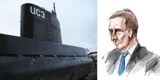 Ubåten/Illustration av Peter Madsen under rättegpngen.  TT