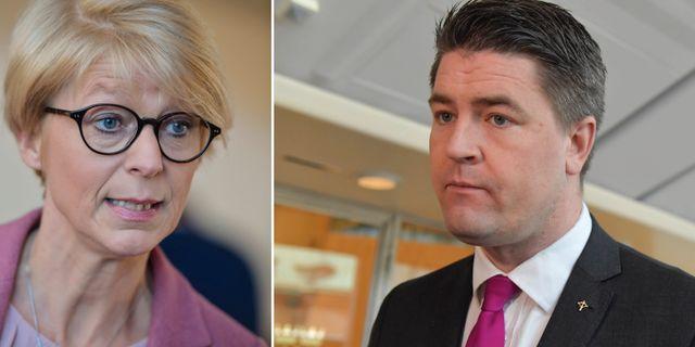 Elisabeth Svantesson och Oscar Sjöstedt.  TT