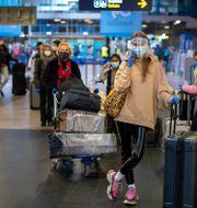 Lufthansa-passagerare köar för att checka in på en flight till Frankfurt.  Mindaugas Kulbis / TT NYHETSBYRÅN