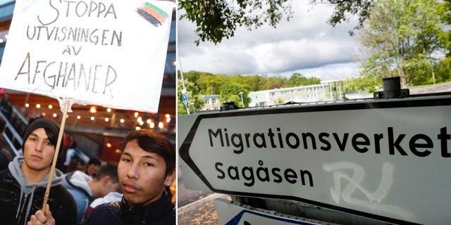 Vänster: Demonstrationer i Stockholm mot utvisningarna, arkivbild. Höger: Migrationsverkets förvar i Kållered. TT