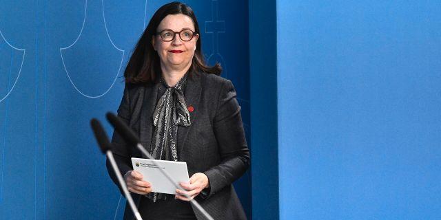 Anna Ekström på dagens pressträff. Claudio Bresciani/TT / TT NYHETSBYRÅN