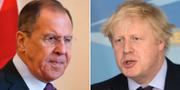 Rysslands utrikesminister Sergej Lavrov och Storbritanniens utrikesminister Boris Johnson.  TT