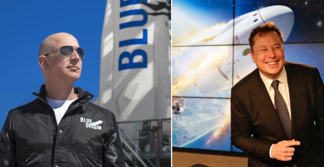 Jeff Bezos och Elon Musk. TT
