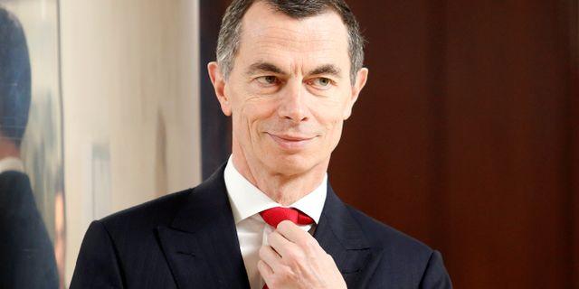 Unicredits vd Jean Pierre Mustier vid tisdagens investerarkonferens i London.  Remo Casilli / TT NYHETSBYRÅN
