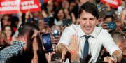 Kanadas premiärminister Justin Trudeau under ett kampanjmöte i Milton, Ontario, under lördagen. STEPHANE MAHE / TT NYHETSBYRÅN