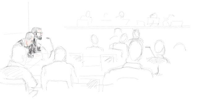 Teckning från de inledande förhandlingarna i rättegången. Arkivbild. Ingela Landström/TT / TT NYHETSBYRÅN