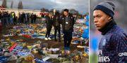 Sörjande fans och Kylian Mbappé.  Bildbyrån.