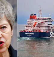 Theresa May/fartyget Stena Impero. TT.