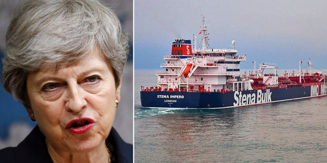 Theresa May/fartyget Stena Impero. TT.