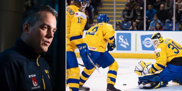 Tomas Montén och JVM-spelare.  Bildbyrån.