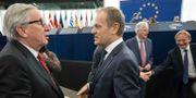 Jean-Claude Juncker och Donald Tusk. Arkivbild.  Jean-Francois Badias / TT NYHETSBYRÅN/ NTB Scanpix
