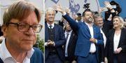 Guy Verhofstadt/Matteo Salvini med bland andra Geert Wilders och Marine Le Pen. TT