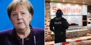 Angela Merkel/Polis vid platsen för skjutningen. TT