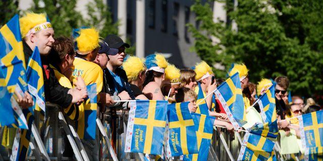 Fans i Kungsträdgården.  Janerik Henriksson /TT / TT NYHETSBYRÅN