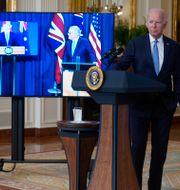 Scott Morrison, Boris Johnson och Joe Biden. Andrew Harnik / TT NYHETSBYRÅN