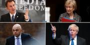 Jeremy Hunt, Andrea Leadsom, Sajid Javid och Boris Johnson, fyra av kandidaterna att efterträda May. TT