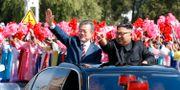 Nordkoreas Kim Jong-Un och Sydkoreas Moon Jae-in.  TT NYHETSBYRÅN/ NTB Scanpix