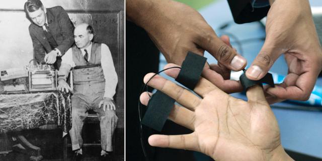 Bild från forskaren Leonarde Keelers lögndetektortest år 1937/Elektroder placeras på fingrarna inför ett lögndetektortest. Wikimedia/Bibliothèque nationale de France/TT