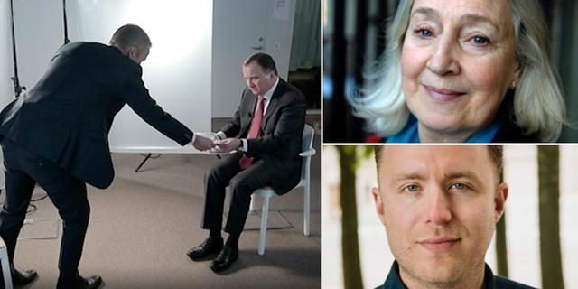 Stefan Löfven i Agenda/Inga-Britt Ahlenius och Viktor Barth-Kron SVT Agenda / TT