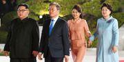 Kim Jong-Un, Moon Jae-In och deras respektive fruar Kim Jung-Sook och Ri Sol-Ju.  - / Korea Summit Press Pool