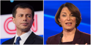 Peter Buttigieg och Amy Klobuchar under Demomraternas debatt.  SHANNON STAPLETON  / TT / WIN MCNAMEE / GETTY IMAGES NORTH AMERICA