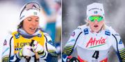 Charlotte Kalla och Maja Dahlquist under dagens tävlingar. Bildbyrån
