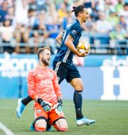Zlatan Ibrahimovic och Seattles målvakt Stefan Frei. JOE NICHOLSON / BILDBYRÅN