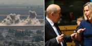 Bombning i Ras al-Ain/Frankrikes utrikesminister Jean-Yves Le Drian och EU:s utrikeschef Federica Mogherini.  AP/TT